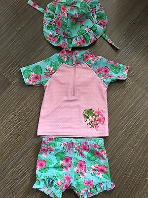 Gorgeous Baby girls Swim/SunSuit  Size 9 Months matching hat size 6-12 months