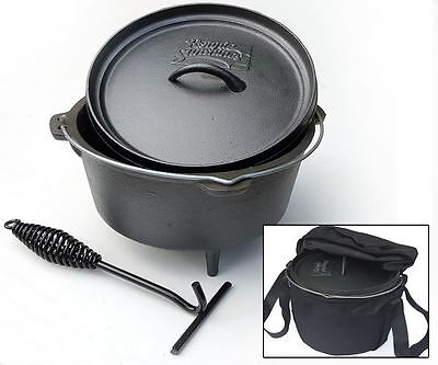 8 litre Cast Iron Dutch Oven Camp Fire Cooking Pot Inc Bag & Lid Lifter