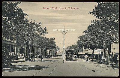 Vintage Postcard Lower York Street Colombo Unused Ref: KA097