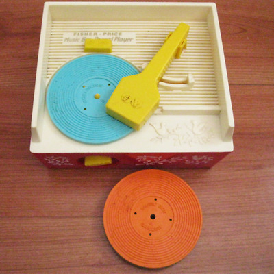 Retro 1970's Fisher Price Music Box Vintage Toy Record Player Complete 5 Discs