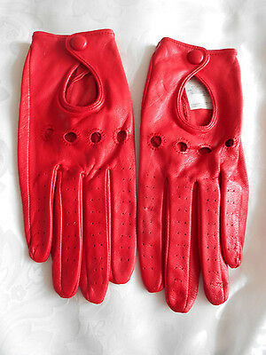 Stunning Cherry Lipstick Red Soft Leather Driving Gloves - Lady Gaga Style!!!