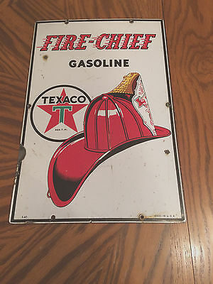 Vintage 1940 Texaco Fire-Chief Porcelain Metal Sign