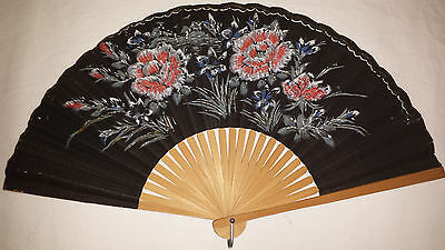 Vintage Handheld Fan  - Hand Painted Floral Design on Handmade Paper