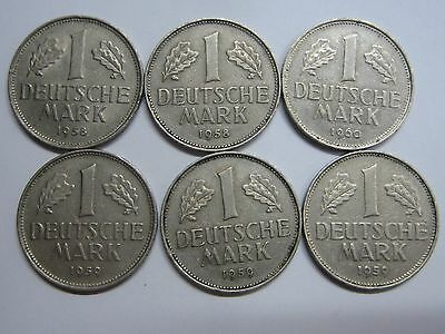 Germany 1 Mark Lot 6 Coins 1958 - 1959 - 1960