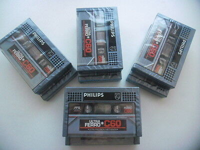 8X Audio Cassette PHILIPS Ultra Ferro C60. Sous blister.
