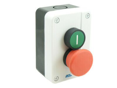 Pushbutton Station Red Emergency Stop + Green Button With 1Nc & 1No Contact Ip65