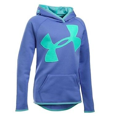 Under Armour Girls' Armour Fleece Novelty Jumbo Logo Hoodie Violet Storm Size M