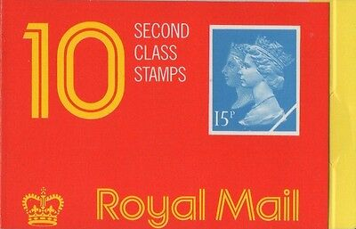 GB QEII 1990 Barcode Cylinder Booklet - 10 x 2nd Cl (15p) Stamps JC3