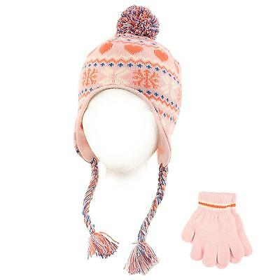 Winter 2pc Lined Girls Kids Age 4-6 Knit Trapper Beanie Ski Hat Glove Set Pink