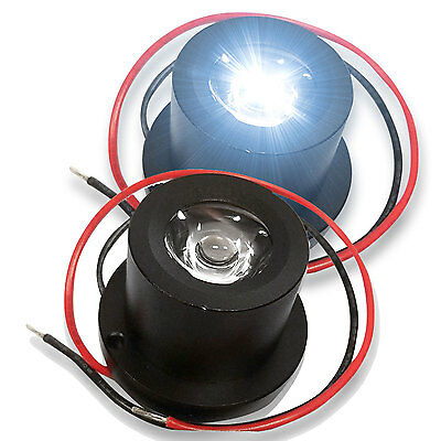 2x Black Motorcycle light Driving Fog Light Spot Lamp White LED Projector Lens