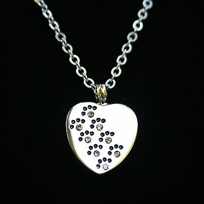 Cremation Pendant Urn NECKLACE Crystal Paw Print Heart Holds Pet Ashes Dog Cat