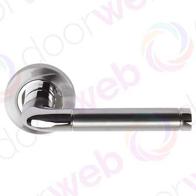 Chrome DOOR HANDLES Colima Internal Handle PAIR STRAIGHT LEVER on Rose Dual