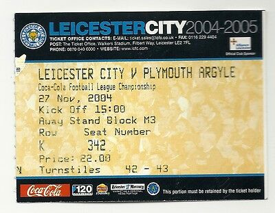 LEICESTER CITY v PLYMOUTH ARGYLE 27.11.04 CHAMPIONSHIP USED TICKET STUB