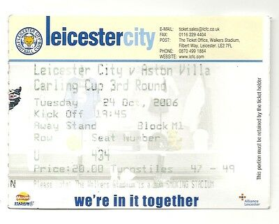LEICESTER CITY v ASTON VILLA 24.10.06 CARLING CUP USED TICKET STUB