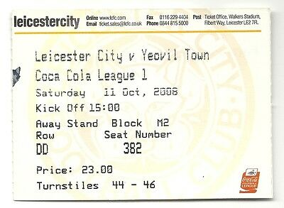 LEICESTER CITY v YEOVIL TOWN 11.10.08 LEAGUE 1 USED TICKET STUB
