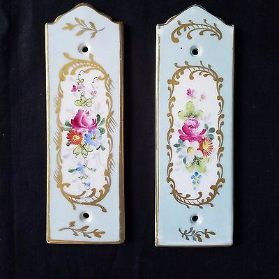 VTG French Floral Porcelain Wall Covers 2 Light Switch Sconce Furniture Plates