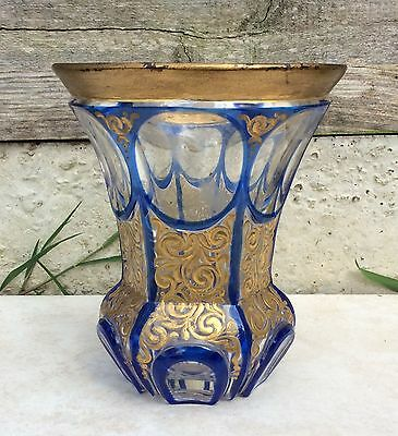 Antique Bohemian Victorian Blue Overlay Cut Glass Vase Gilt & Enamel AS FOUND