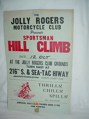 ORIGINAL Vintage 1960's Motorcycle Poster SPORTSMAN HILL CLIMB Jolly Rogers M.C.
