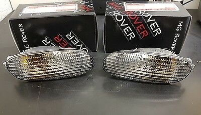 Pair Of Genuine MG MGF Clear Indicator Lamps + Bulb & Holder XBD101021 XBD101031