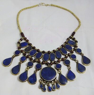 Handmade  afghan turkmen Traditional Jewelry necklace pendant  lapis lazuli