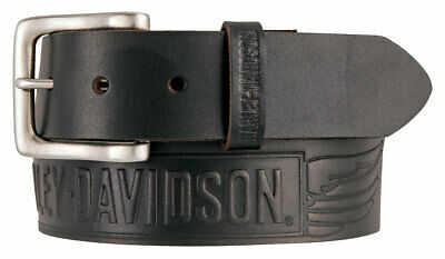 Harley-Davidson Men's Embossed Crosswind Leather Belt, Black HDMBT11334-BLK