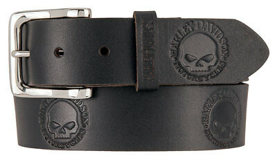 Harley-Davidson Men's Embossed Willie's World Leather Belt, Black HDMBT11332-BLK