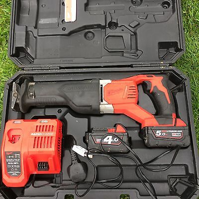 Milwaukee M18BSX-402C 18v Brushed Sawzall Reciprocating Saw batteries + Charger