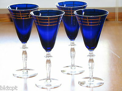 Morgantown Glass Ritz Blue Monroe Stem Water Goblets w/ Platinum Decor-Set of 4