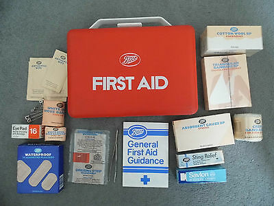 Vintage 1970s-80s Boots First Aid Kit Box Camping Travel