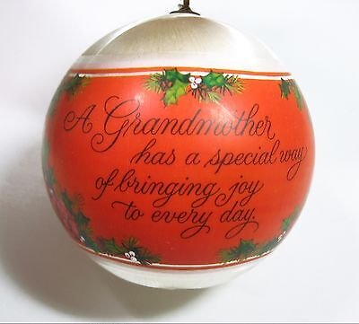1970's Hallmark GRANDMOTHER ORNAMENT Roses Satin Ball Christmas Tree Trimmer BOX