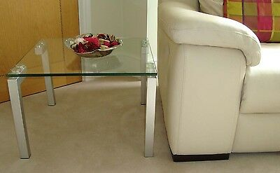 Brand New Contemporary Glass and Satin Chrome Coffee Table - 2 available