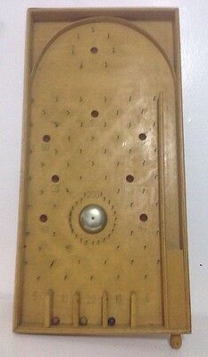 "Vintage Wooden Bagatelle Game With  Spring Release, Bell & 3 Balls 24""x12"""