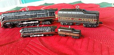 NIB Hallmark Lionel 746 Norfolk & Western Locomotive Tender Train Ornament Set