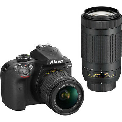 Nikon D3400 DSLR Camera with 18-55mm AF-P and 70-300mm AF-P Lenses (Black)