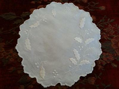 Antique Vtg Christmas Embroidered Doily HOLLY & BERRIES White on White 13""