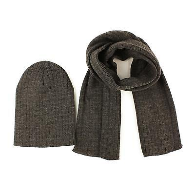 Winter 2pc Soft Boys Kids Age 4-7 Knit Ribbed Beanie Ski Hat Scarf Set Charcoal