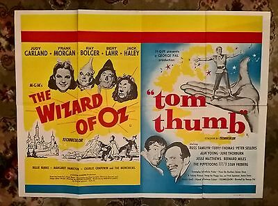 THE WIZARD OF OZ/TOM THUMB (1961 film) UK QUAD ORIGINAL  POSTER. 30 X 40 INCHES