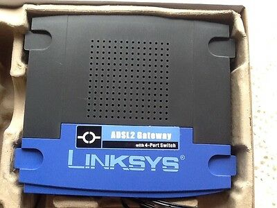 Cisco Linksys ADSL2 Modem Router With 4 Port Switch - With AC Adapter
