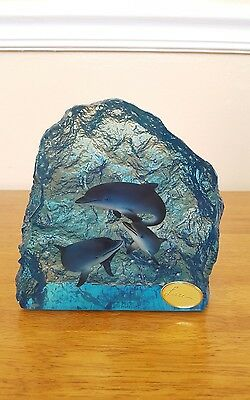 Art of Lassen rainbow dolphins collectible resin underwater sculpture nautical