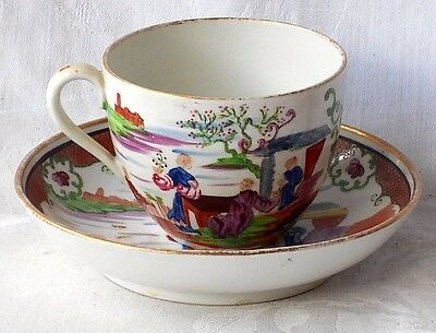 Late C18Th / Early C19Th  New Hall Style Hand Painted Cup And Saucer