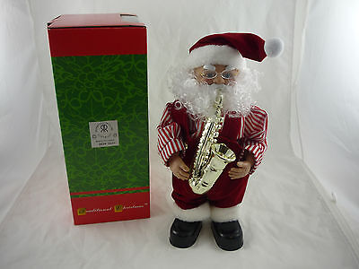 Christmas Animated Musical Santa Saxophone Figurine