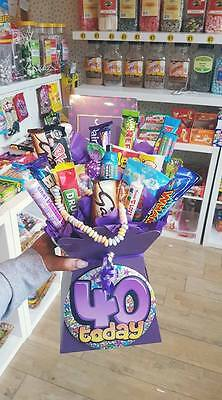 40th Birthday Retro Sweet & Chocolate Candy Bouquet Hamper