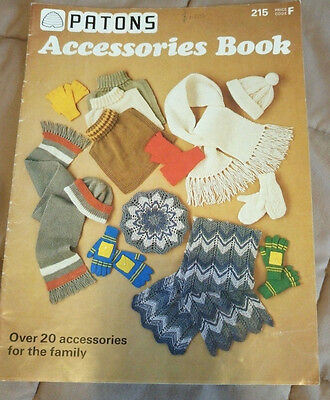 Patons Family Accessories Book vintage knitting pattern hat scarf mittens gloves