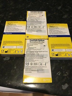 Freestyle Optium Blood Glucose Diabetic Test Strips 4x boxes Of 50, New Sealed.
