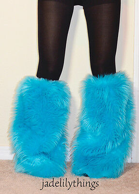Turquoise Baby Blue Faux Fur GoGo Fluffies