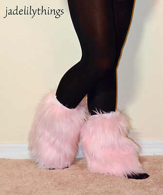 Baby Pink Faux Fur Ankle Boot Covers