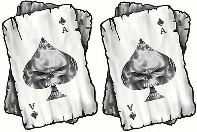Distressed ACE OF Flaming SKULL Playing Cards MOD Rocker vinyl Car sticker decal