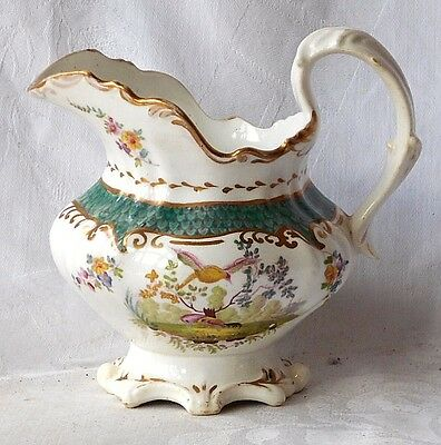 C19Th Staffordshire Jug With Hand Painted Birds And Flowers