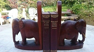 Vintage Pair of Heavy Solid Teak Wooden Carved Asian Elephant Bookends