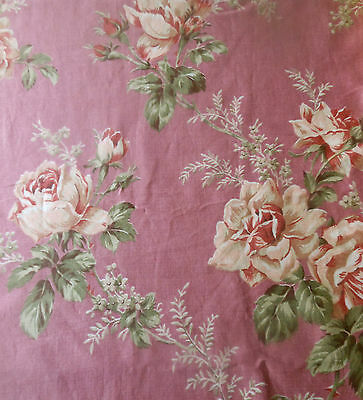 Antique Romantic Shabby Roses Floral Cotton Fabric ~ Soft Pink Orchid Lavender